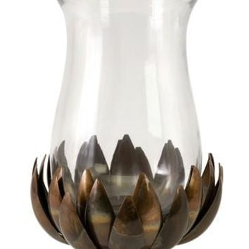 Hurricane Candle Holder - Lotus Flower Design