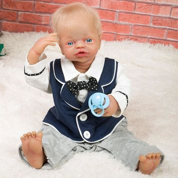 IVITA 22inch/4.7kg Boy Root Hair Painted With Movable Skeleton High Quality Silicone Reborn Dolls Baby Born Full Body Alive