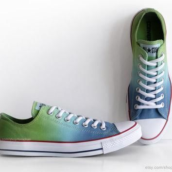 new pair ombr dip dye converse blue green all stars low tops dyed sneakers ath