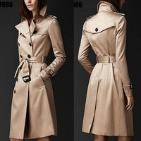 Double Button Trench Coat For Women