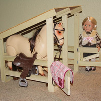 "Doll Horse Stable Kit Fits American Girl or 18"" Doll Do it yourself DIY Kit With Hardware"