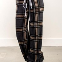New Grey-Khaki Plaid Draped Drawstring High Waisted Casual Wide Leg Long Pants