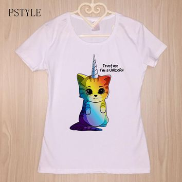 PSTYLE Kawaii Rainbow Unicorn Cat Printed T Shirt Women Summer Animal T-shirt Short Sleeve Harajuku Femme tshirt White Tee Tops