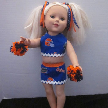 "American Girl 18"" Doll Florida Gators Cheer Outfit By Sweetpeas Bows & More"