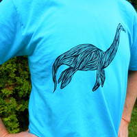 Dinosaur Plesiosaur Champy Lake Monster Men's Blue Screen Printed T-Shirt
