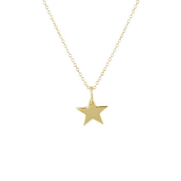 NEW Sterling Silver or 14k Gold Vermeil Solid Star Necklace
