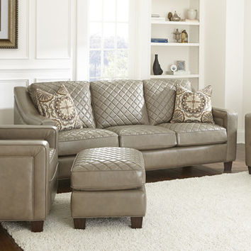 Steve Silver Wellington Sofa w/2 Accent Pillows in Akron Fog Leather