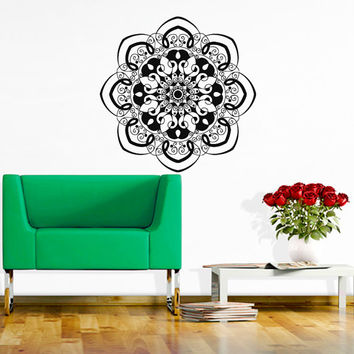 Wall Decals Mandala Indian Pattern Yoga Oum Om Sign Decal Vinyl Sticker Home Decor Art Murals Bedroom Studio Window MN489