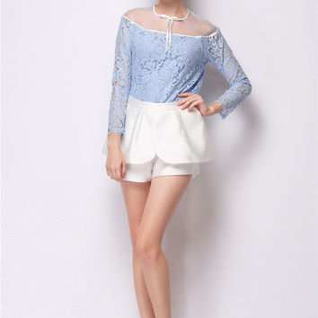 Strapless Long Sleeve Lace Top