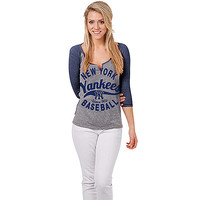 New York Yankees Women's Triblend Raglan by 5th & Ocean - MLB.com Shop