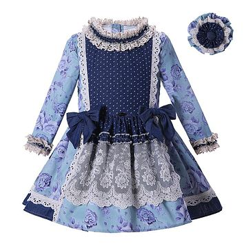 Pettigirl Girl Blue Flower Vintage Dress With Headband Long Sleeve Lace Dress Kids Pageant Clothing G-DMGD004-D12