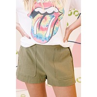 High Rise Woven Short, Olive