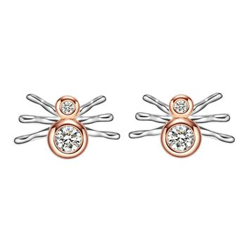 Tiny Cute Spider Protection Powers Amulet Lucky Charms Gold-Silver-Tone Stud Crystals Earrings