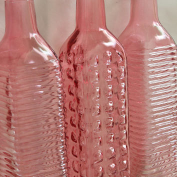 Set of 10 LIGHT PINK GLASS Bottles Peachy Pink Blush Baby Coral Colored Wedding Rustic Vintage Peach Rainbow Flowers Bottle Vase Shabby Chic