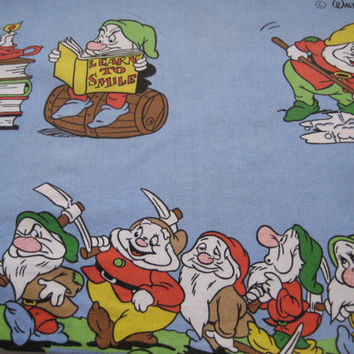 RARE Vintage Disney Snow White Seven Dwarfs Prince Charming Pillowcase Bedding Pillow Slip Kids Craft Fabric Clean Used