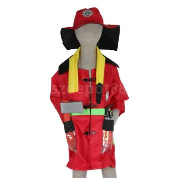 Kids Halloween Party Firefighter Fireman Costume Fancy Dress Role Play Toys