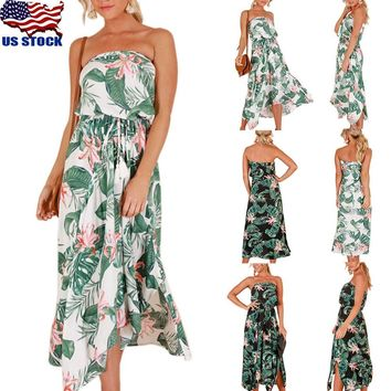 Boho Women Strapless Floral Print Long Maxi Dress Split Summer Beach SunDress US