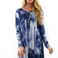 Glory of Love Navy Tie Dye Lace Up Dress