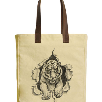 Pencil Drawing of a Tiger Beige Printed Canvas Tote Bags Leather Handles WAS_30