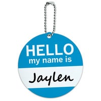 Jaylen Hello My Name Is Round ID Card Luggage Tag