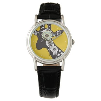 Funky Cool Paisley Giraffe Yellow Funny Watches