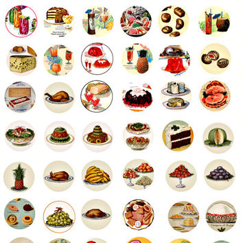 vintage food clip art desert candy cakes digital download collage sheet 1 INCH circles printable jewelry pendant images