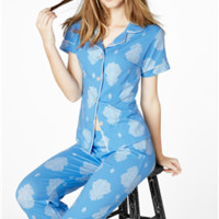 BedHead Blue Paisley Palace Stretch S/S Cropped Pajama Set