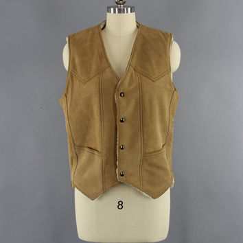 Vintage 1970s Suede Vest / 1980s Leather Vest / 70s Western Wear / 80s Cowgirl Hippie / Sherpa Lined / Ralph Howards USA / Size 6 8 Medium M
