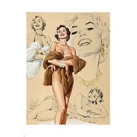 NAKED pin-up girl HOLDING FUR COAT poster 24X36 glamorous BUSTY sexy beauty