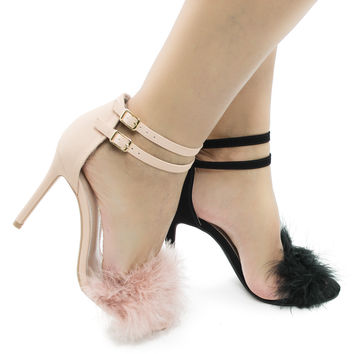 Dejavu Pink Nubuck by Shoe Republic, Fluffy Pinfeather Ankle Cuff Strap Stiletto Heel Dress Sandals
