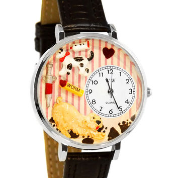 Whimsical Watches Designed Painted Veterinarian Black Padded Leather And Silvertone Watch