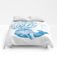 Cute Watercolor Whale Comforters by noondaydesign
