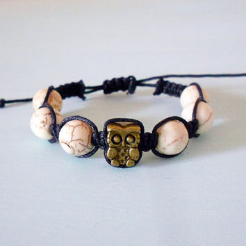 Owl Macrame Braided Buddhist Inspired Bracelet with Antique Brass Owl, Natural White Turquoise and Black Cotton Cord from New World