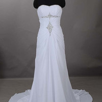 Sheath/ Column Strapless Sweep/Brush Train Chiffon Wedding Dress