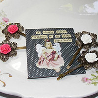"""Kate's Vintage"" Rose Filigree Hair Pins with FREE Retro Fridge Magnet, MMUTM Handmade"