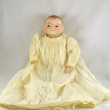 Clarmaid Baby Doll - Parian Doll by Clara Wade Doll Artist - Blue Glass Eyes - Realistic Vintage 1966