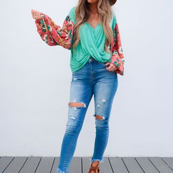 Budding Romance Blouse: Mint/Multi