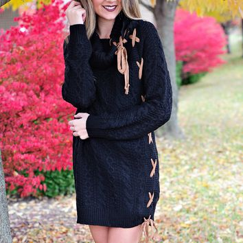 * Turn The Beat Around Cable Knit Dress: Black