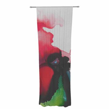 "Carol Schiff ""Ravishing Red"" Red Green Floral Abstract Painting Watercolor Decorative Sheer Curtain"