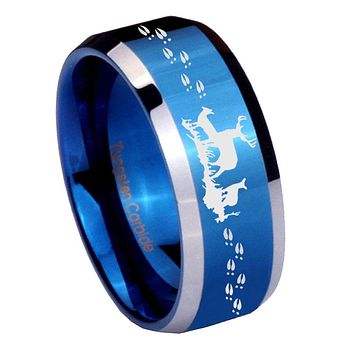 8mm Deer Hunting Beveled Edges Blue 2 Tone Tungsten Mens Ring Engraved