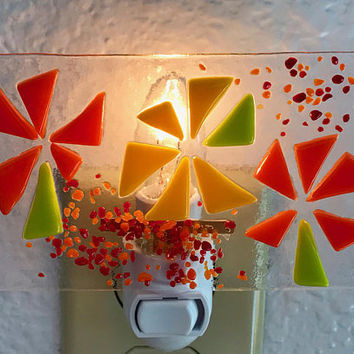 Orange Flower Power Night Light by Design4Soul