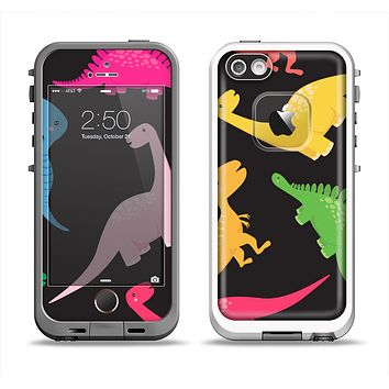 The Vector Neon Dinosaur Apple iPhone 5-5s LifeProof Fre Case Skin Set