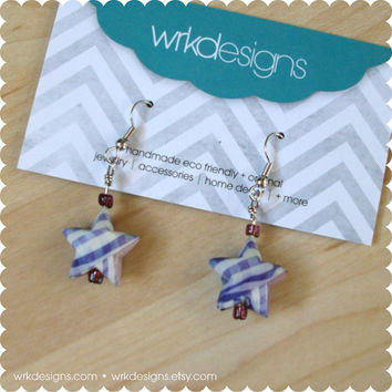 Purple Plaid Lucky Star 3D Origami Earrings - Recycled Paper Beads - OOAK