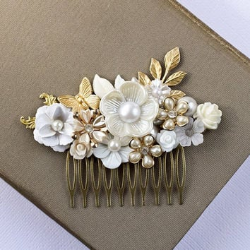 Bridal Hair Comb  Gold And White Hair Comb Shabby Chic by lonkoosh