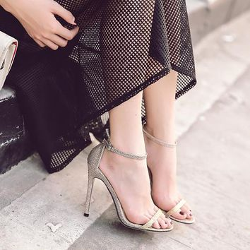 Open Toe Ankle Wraps Stiletto High Heels Party Shoes Sandals