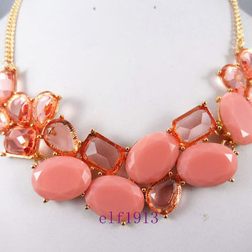 J. Crew Style Inspired Flower Bubble  Necklace ,Statement Necklace,bridesmaid gifts, bib necklace/ white
