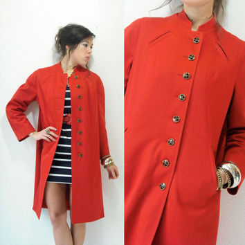 70's Vintage PAPRIKA Military Coat Lighweight Gold 4 Leaf Clover Filigree Buttons