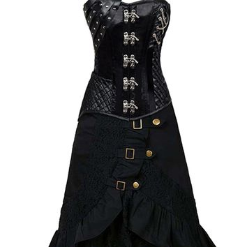 Atomic Black Steampunk Gothic Corset and Skirt Set