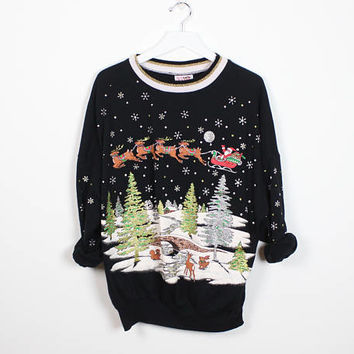 Vintage Tacky Christmas Jumper Black Silver GLITTER Santa Claus Reindeer Snow Ugly Xmas Sweater Tshirt Screen Print Pullover Sweatshirt L XL
