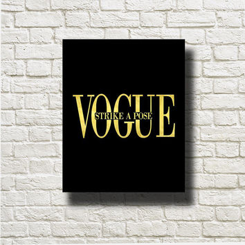 Vogue Strike A Pose Gold Black Printable Instant Download Wall Art Print Poster Home Decor G219bg